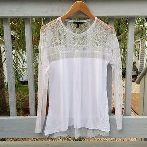Sheer lace back white long sleeve shirt